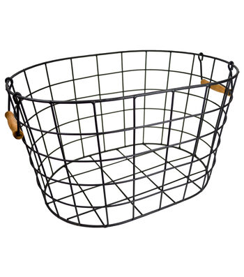Large Oval Wire Basket with Wooden Handles