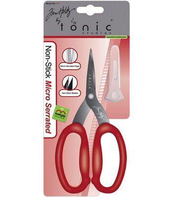Tim Holtz Non Stick Serrated Snip Scissors-Ergonomic Large Loop Handles
