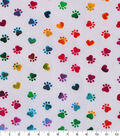 Novelty Cotton Fabric -Tie Dye Paws White