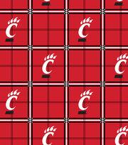 "University of Cincinnati Bearcats Flannel Fabric 42""-Plaid, , hi-res"