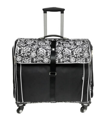 CGull Ultimate Craft Machine & Supplies Tote-Black With White Damask