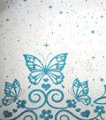 Glitterbug Organza Fabric 58\u0022-Butterfly Border with Glitter