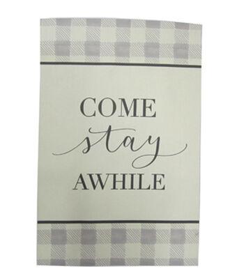 Simply Autumn 12''x18'' Flag-Come Stay Awhile & Plaid