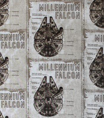 "Star Wars: The Last Jedi Cotton Fabric 44""-Millennium Falcon Blueprint"