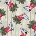 Christmas Cotton Fabric-Decorative Skates Wood