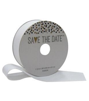 Save the Date 1.5'' X 30' Ribbon-White Grosgrain