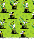 St. Patrick\u0027s Day Print Fabric -Green with Peanuts Pot of Gold