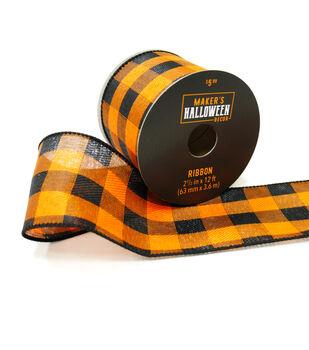 Maker's Halloween Decor Ribbon 2.5''x12'-Black & Orange Checks