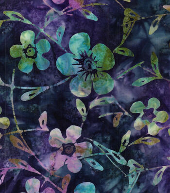 """Legacy Studio Batik Cotton Fabric 43""""-Purple Blue Floral"""