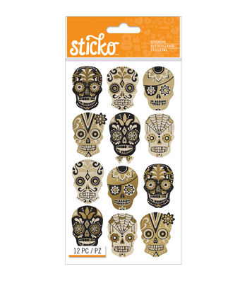 Sticko Halloween Stickers-Silhouette Sugar Skull