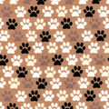 Snuggle Flannel Fabric-Pup Paws on Brown