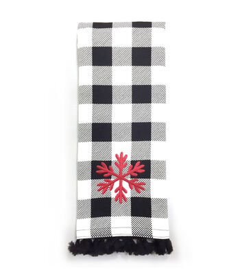 Maker's Holiday 16''x28'' Kitchen Towel-Snowflake on Black & White