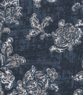Snuggle Flannel Fabric -Denim Distressed Vines