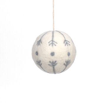 Handmade Holiday Christmas Scandimas Ball Ornament-White & Gray