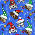Holiday Cotton Fabric -Christmas Dogs Glitter