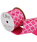 Offray 2.25\u0022 x 9\u0027 Geo Ribbon-Pink/White