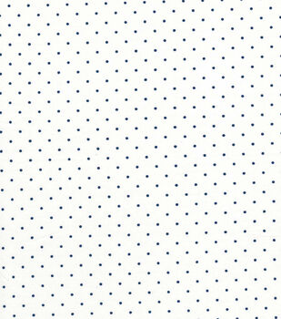 Quilter's Showcase Cotton Fabric -Navy Swiss Dots on White