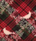 Anti-Pill Fleece Fabric 59\u0022-Plaid With Cardinal