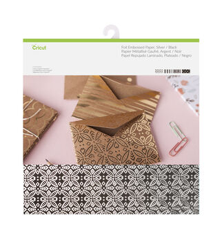 Cricut 12 Pack 12''x12'' Deluxe Foil Embossed Papers-Silver & Black