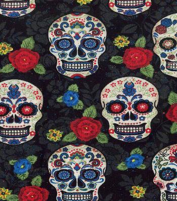 Halloween Cotton Fabric-Sugar Skulls & Flowers