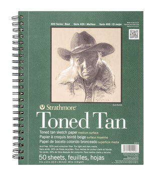 """Strathmore Toned Sketch Spiral Paper Pad 9""""X12""""-Tan 50 Sheets"""