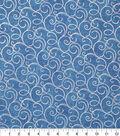 Keepsake Calico Cotton Fabric-Blue Foil Swirls