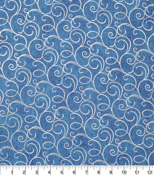 Keepsake Calico Cotton Fabric-Blue Foil Swirls