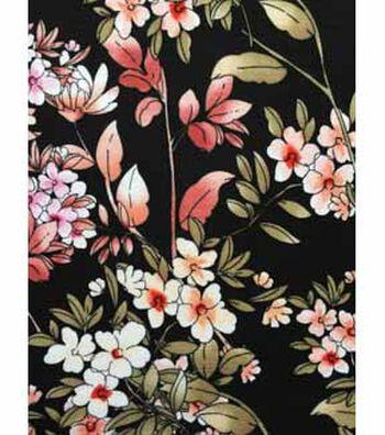 Apparel Knit Fabric 57''-Pink Chrysanthemum on Black