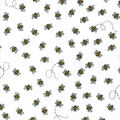 Nursery Flannel Fabric-All Over Bees