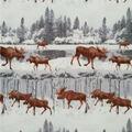 Anti-Pill Plush Fleece Fabric-Winter Moose
