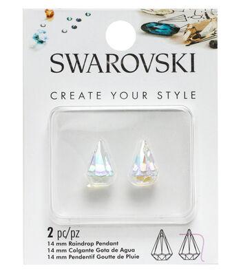 Swarovski Create Your Style 2 pk 14mm Raindrop Pendants-Crystal