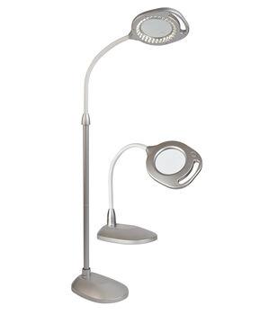 OttLite 2-in-1 LED Magnifier Floor & Table Lamp-Silver