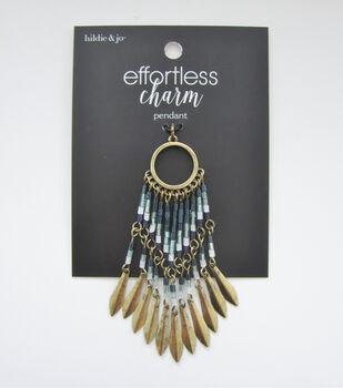 hildie & jo Effortless Charm Tassel Pendant-Gold & Blue