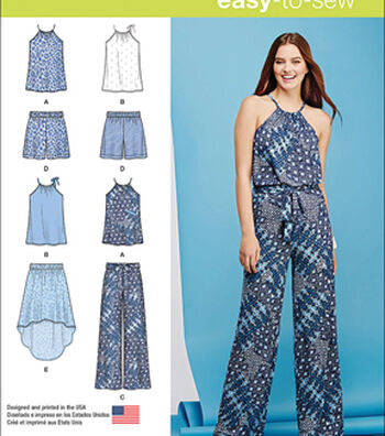 Simplicity Patterns Us1112P5-Simplicity Misses' Top, Pants Or Shorts And Skirt-12-14-16-18-20