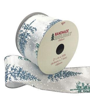 Handmade Holiday Ribbon 2.5''x25'-Green & Blue Trees on Light Gray