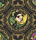 Nintendo Zelda  Cotton Fabric 43\u0022-Metallic Badges