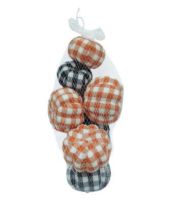 Simply Autumn Pumpkins in Mesh Bag-Plaid