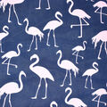 Fast Fashion Dobby Print Fabric-Navy & Pink Flamingo
