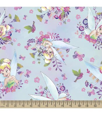 Disney Fairies Tinkerbell Print Fabric-Watercolors