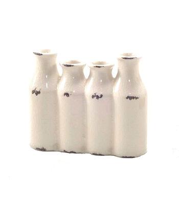 Bloom Room Stoneware 4 Bottle Vase-Ivory