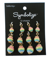 hildie & jo Symbolize 12 pk Round Gold Charms-Rainbow Stripes, , hi-res