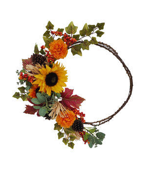 Blooming Autumn Sunflower, Berry & Mixed Floral Minimalist Wreath