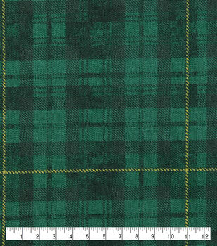 St. Patrick's Day Cotton Fabric-Green & Yellow Plaid