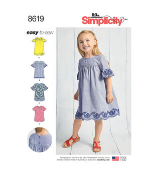 Simplicity Pattern 8619 Children's Easy-to-Sew Dresses-Size A (3-8)