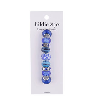 hildie & jo 9 pk Metal Lined Glass Beads-Dark Blue/Turquoise