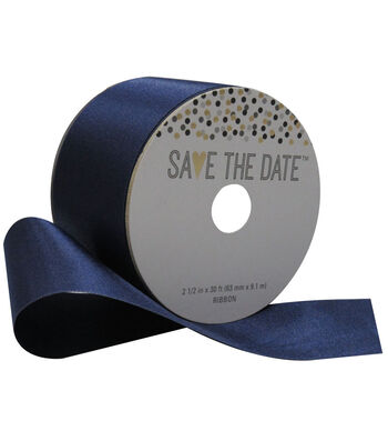 Save the Date 2.5'' X 30' Ribbon-Navy Satin