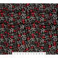 Super Snuggle Flannel Fabric-Woof, Gurr, Ruff & Bones on Black