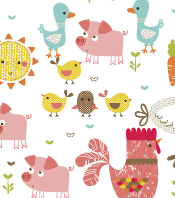 Snuggle Flannel Fabric -Happy Farm Animals