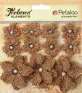 Petaloo Textured Elements Burlap Mini Flowers 0.75\u0027\u0027 To 1.5\u0027\u0027