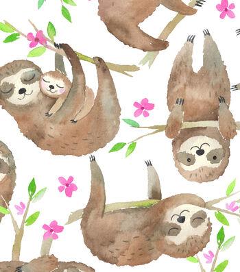 Snuggle Flannel Fabric 43''-Sloths